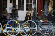 The New York Times reports that our bicycle racks are causing trouble :)